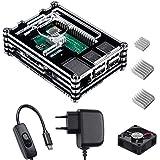 Smraza para Raspberry Pi 3 b+ Caja con Cargador de 5V / 3A con Conector ON/Off + 3X Disipador + Ventilador Compatible con Car