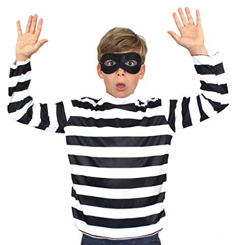Einbrecher Kostüm Schwarz - ILOVEFANCYDRESS EINBRECHER VERKLEIDUNG KOSTÜM Kinder =SCHWARZ/Weiss GESTREIFTES T-Shirt+Schwarze Augenmaske=4 VESCHIEDENEN GRÖßEN= Fasching Karneval Party =XLarge