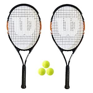 WILSON 2 x XL Tennisracket + 3 tennisballen (Verschiedene Optionen)