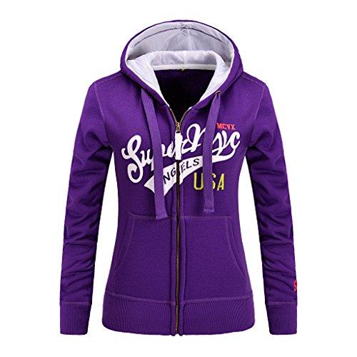HUA&X Mettre en place des femmes sweat-shirts Sweat à long manche hauts cardigan manteau Sport poche purple
