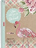 Brunnen 1067928351 Notizblock / Collegeblock Student kariert (A4, 80 Blatt, mit Rand, Motiv Flamingo)