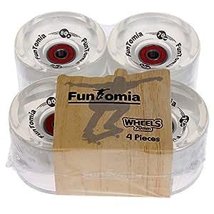 4x FunTomia® Longboard LED roués wheels 70x51mm 86A - avec 8x Mach1® roulements à billes ABEC-11 (blanc transparent)