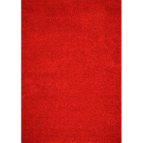 Shaggy Collection Solid Color Shag Area Rugs (Bright Red, 5'x7') (4010) by Rug Styles
