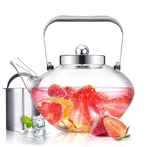 SULIVES Luxury Glass Teapot with Stainless Steel Infuser & Lid, Borosilicate Glass Flower Tea Kettle Stovetop Safe, Blooming & Loose Leaf Teapots, 34 oz / 1000 ml