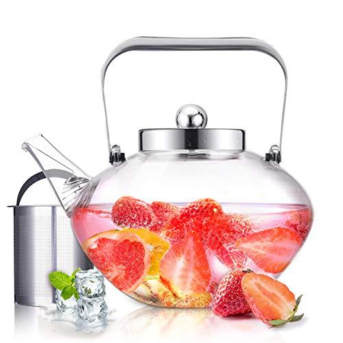 SULIVES Glas-Teekanne mit Edelstahl-Infuser und Deckel, Borosilikatglas-Blumentee-Wasserkocher-Herd Safe Sicher, blühende und lose Blatt-Teekannen, 34 oz / 1000 ml
