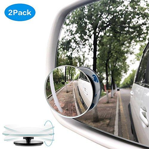 Toter Winkel Spiegel, 360° rotierbar einstelbar rundliche Konvexspiegel HD Glas Rahmenlos Weitwinkelspiegel universelle Fit Auto SUV Lastwagen Motorrad Vans (2 Pack)