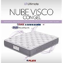 FLEX - Colchón Flex Nube Visco Con Gel - 180X200, Color Gris/Gris Perla