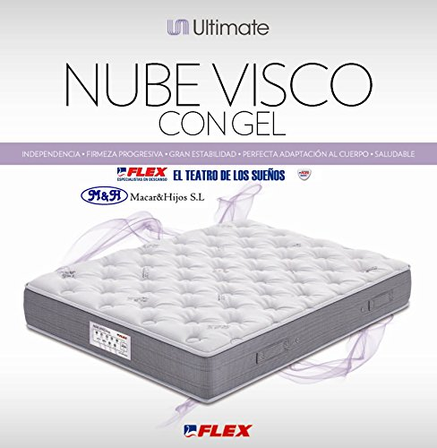 FLEX - Colchón Flex Nube Visco Con Gel - 150X190, Color Gris/Gris Perla