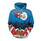 YWLINK Damen Sweatshirt Unisex Strickpullover Rudolph Pullover Weihnachtsmann Drucken(XL,Blau)