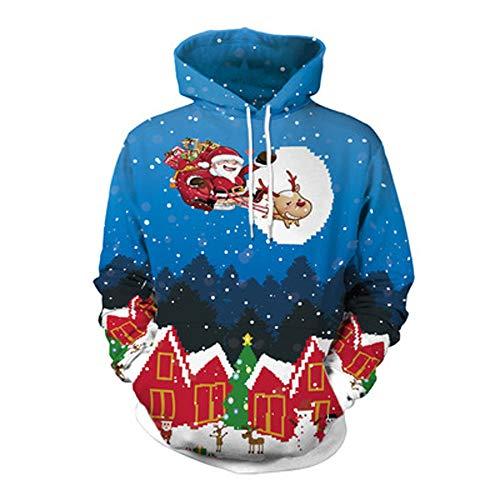 YWLINK Damen Sweatshirt Unisex Strickpullover Rudolph Pullover Weihnachtsmann Drucken(XL,Blau) -