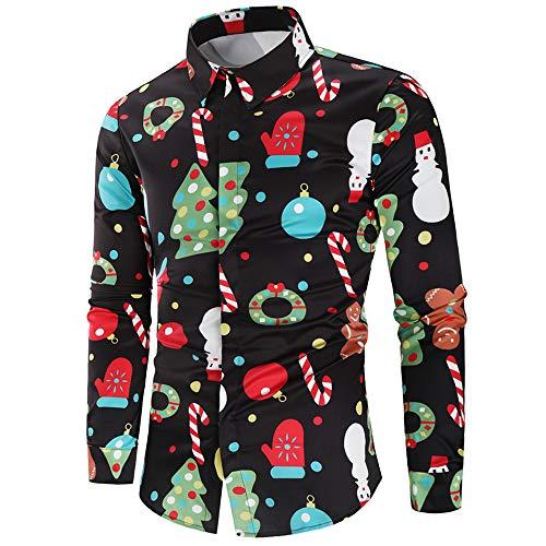 CHARMMA Herren Hemd Weihnachten Thema Knöpfbar Langarm Stehkragen Shirt (Schwarz, 3XL)