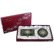 Mère de perle Arabesque (1) Loupe Design Double miroir compact de maquillage avec porte carte crédit Nom de Visite de Gravure Fine en acier inoxydable d'argent cas