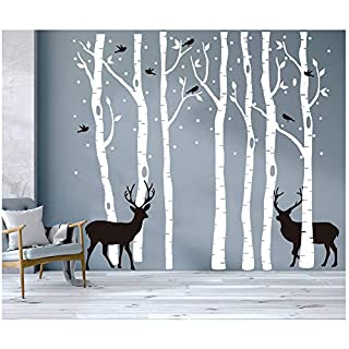 7 White Brichs Wall Stickers by BDECOLL,Merry Christmas Tree Wall Murals Art for Living Room,Deer and Snow Art Window Decal Home Party Decoration