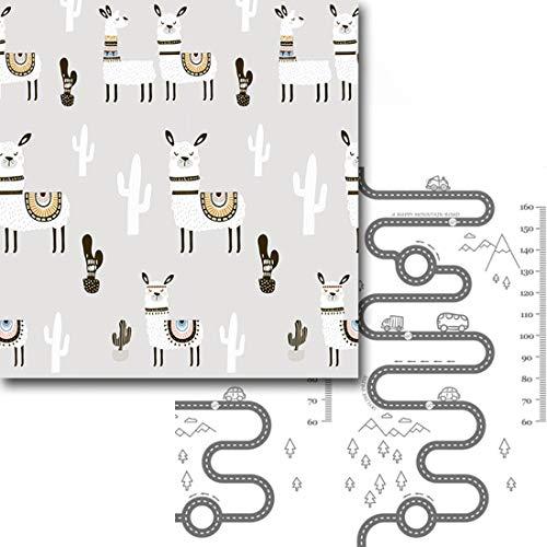 Ggoddess XPE faltbare Baby Spielmatte, 200 x 180cm Wasserdichte Antifouling Krabbelmatte, Doppelseitiger Anti-Rutsch Baby Spielteppich für Zuhause, Wohnzimmer, Outdoor (Alpaka + Spur)
