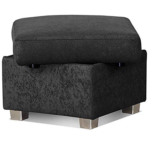 Cavadore Hocker Tuluza mit Stauraum / Sofa-Hocker schwarz passsend zur Sofagarnitur Tuluza/ Modernes Design / Größe: 58 x 45 x 58 cm (BxHxT) / Schwarz