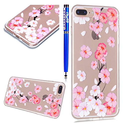 EUWLY Custodia Case per iPhone 7 Plus/iPhone 8 Plus (5.5), EUWLY iPhone 7 Plus/iPhone 8 Plus (5.5) Cover Silicone Soft TPU Crystal Clear Premium Trasparente Protettivo Custodia Case Bello Creative B Fiori Bianco Rosa