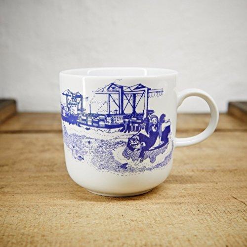Kaffeebecher - 100% Handmade von Ahoi Marie - Motiv Hafenliebe - Maritime Porzellan-Tasse original aus dem Norden (Abbildung Form)