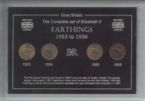 1953-1956 Queen Elizabeth II Farthings Great Britain British Coin Collection Collector Farthing Set Queen Elizabeth 1953
