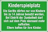 4442. Spielplatzschild Kinderspielplatz Die Geräte dürfen nur.. Aluminium, pulverlackbeschichtet, 2, mm stark Größe 60,00 cm x 40,00 cm