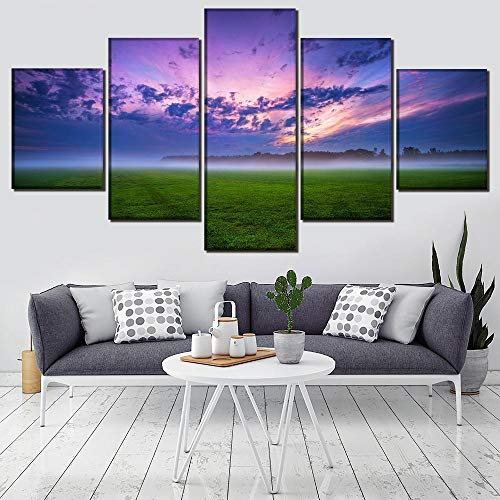 WXHHG 5 Lienzos Marco One Set Wall Art Picture Decor Cloud Field Fog Grass Nature Nature Sunrise Impresión En Lienzo Pintura Decoración para El Hogar