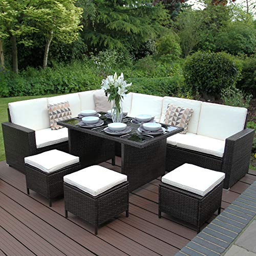 jardí - arredamento da giardino marrone in rattan con sgabelli, sofa a forma di l e tavolo con copertura anti-pioggia elegante 9 posti a sedere protezione anti-uv
