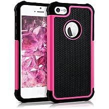 kwmobile Funda híbrida para > Apple iPhone SE / 5 / 5S < en rosa fucsia negro. Interior de gel TPU, ¡estructura rígida! Ideal para uso al aire libre y ultramoderna