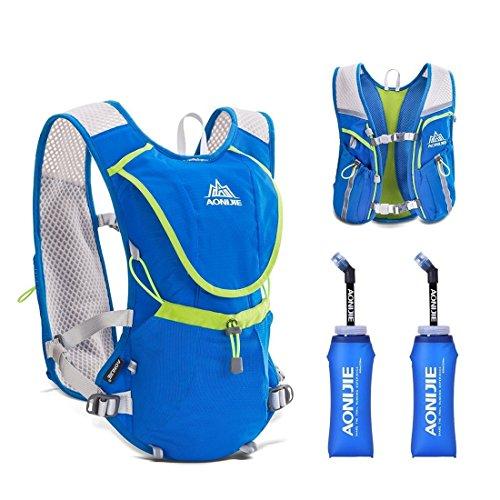 AONIJIE Leichter Männer Frauen Marathon Radfahren Laufen Rucksack mit Trinkblase Blau+2* Faltbarer Waterbottles(350ml)