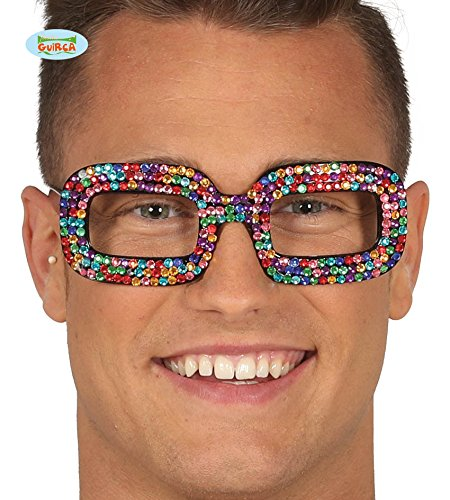 Guirca Coole Bunte Nerd Brille Glitzersteine Brille Karneval Fasching Nerdbrille Party
