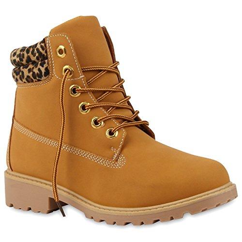 Holzfäller Kostüm Schuhe (UNISEX Damen Herren Worker Boots Outdoor Profil Sohle Schuhe 125386 Hellbraun Leopard 41 |)