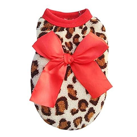 Alcyonée pour animal domestique Leopard Bowknot Vêtements Puppy Corail Polaire Vêtements Apparel Costume