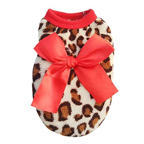 alkyoneus Pet Hund Katze Leopard Schleife Kleidung Puppy Coral Fleece Kleidung Bekleidung (Pet Groomer Kostüm)