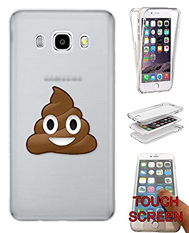 c00864 - Cool Funny Smiley Emoji Poo Shit Faces Disgusting Yuck Design Samsung Galaxy J3 SM-J320F Fashion Trend Complete 360 Degree protection Coque Gel Rubber Silicone protection Case Coque