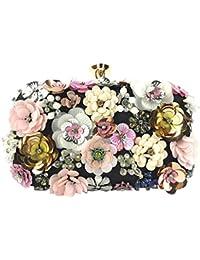 Luckycat Bolso de noche de flores para mujer Bolso de embrague retro con cuentas Bolso de