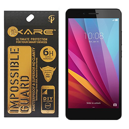 iKare Fiber Tempered Glass Screen Protector for Honor 5x (REUSABLE, ULTRA CLEAR, REAL SHOCK PROOF, UNBREAKABLE)