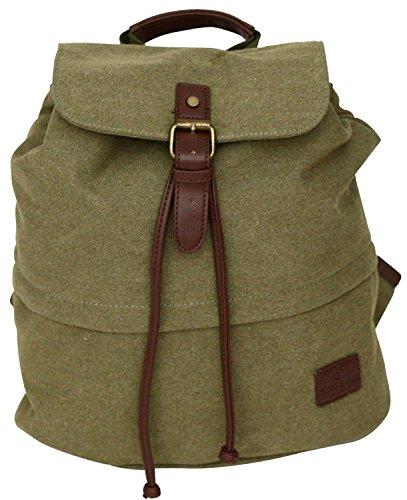 Natürliche Canvas Kordelzug (Damen Rucksack aus Canvas im Retro-Design - Kleine Schultasche)