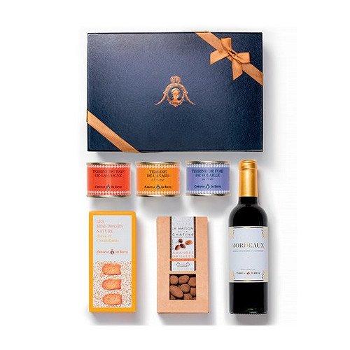 Geschenkkorb: Pasteten und Terrinen mit Mini-Toasts, Bordeaux Rotwein - 375ml - und Schokoladen aus Frankreich