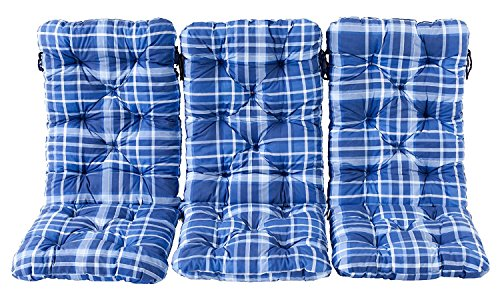 Ambient home Lot de 3 Coussins à carreaux HANKO MAXI Bleu 120 x 50 x 8 cm 90641