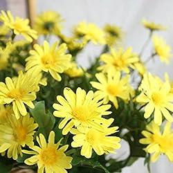 Babysbreath Artificial seda margarita flores ramo de DIY para bodas Decoración para el hogar Amarillo