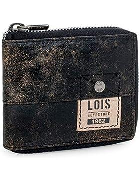 Lois - 12509 Cartera Monedero Billetero Tarjetero Hombre de Piel Genuina. Cremallera Exterior. Portamonedas, Compartimentos...