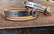 Bracelets couple personnalisé. Duo bracelets gravé. Cadeau pour les couples, personnalisable. Bijoux gravés. C