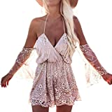 Ouneed® shirts blusen damen , Summer Off Shoulder Sequin glitzer Bling Diamond Bodysuit Summer Beach Club Elegant Jumpsuit (M, Roségold)