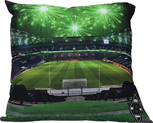 Borussia Mönchengladbach Kissen mit LED-Lichtern und Stadion-Motiv in 38x38cm