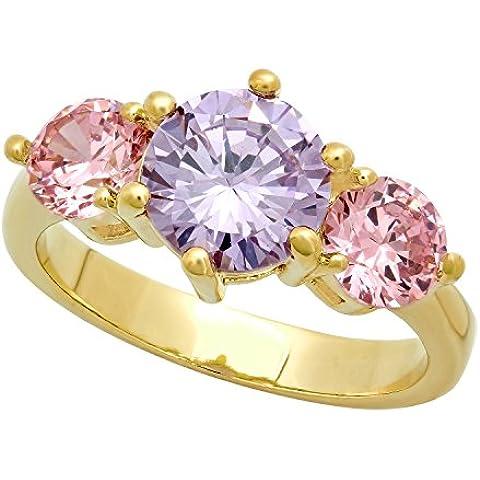 Da donna, placcato oro, 3 pietre rosa & Viola chiaro, con zirconi