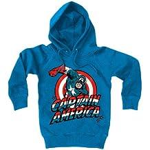 Capitán América - sudadera con capucha - Marvel Comics - estampado frontal grande - azul