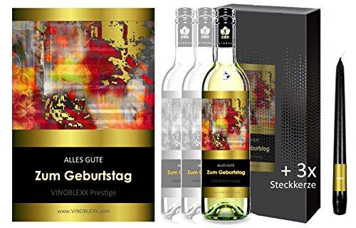 ALLES GUTE ZUM GEBURTSTAG. 3er Geschenkset KLASSIK Weisswein. Ein Geschenk mit Stil & Prestige in Golddruck das jeden begeistert. Hochwertiger Qualitätswein. Verschiedene Etiketten-Designs, aktuell: abstrakt