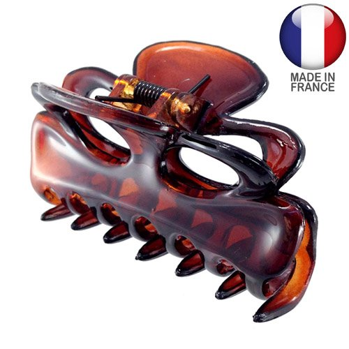 245 – 003 – Pince pour cheveux français nœud cm 9 – Tortue – Pinces pour Cheveux
