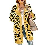 Cardigan Maglione Leopardo Maglioni Casual Outwear A Manica Manicotto Lunga Cappotto T-Shirt Stampa Lavorato Maglia Moda Giacca del Abbigliamento Tasca Soprabito Pullover da Donna
