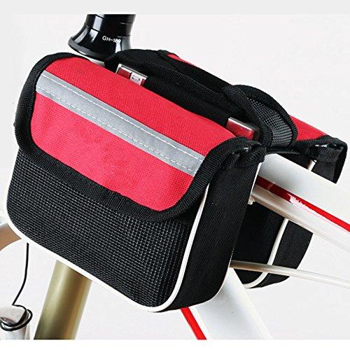FAN4ZAME Mountain Road Bike Vordere Tasche Obere Rohr Mobiltelefon Sattel Vorderachse Fahrrad Ausrüstung Armaturen gules