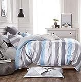 KEAYOO Bettwäsche 135x200 Blau Grau Weiß horizontale Streifen Wendebettwäsche 100% Bauwolle 2 Teilig Set mit Reißverschluss