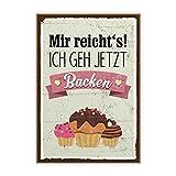Holzschild mit Spruch – BACKEN – im Vintage-Look mit Zitat als Geschenk und Dekoration zum Thema Kuchen, Torte und Plätzchen von TypeStoff (19,5 x 28,2 cm)